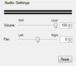 Audio Settings: Volume and Pan control