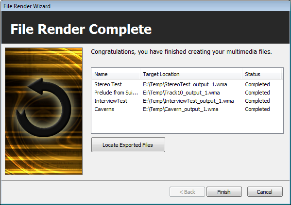 Finished rendering audio files