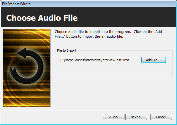 Import Wizard: choosing an audio file