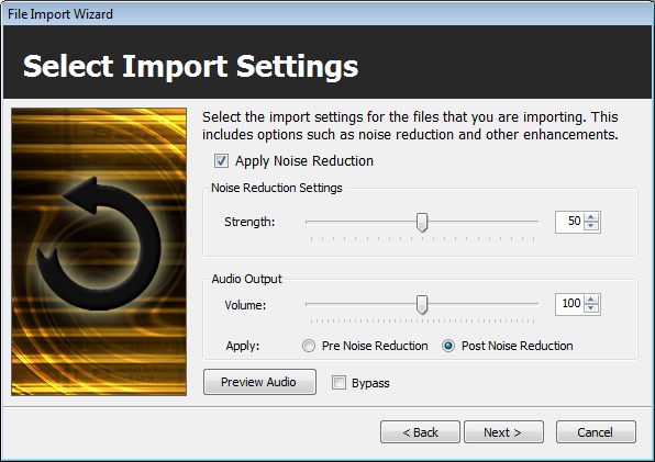 Import Wizard: Import Settings