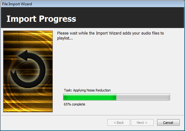 Import Wizard: Noise Reduction