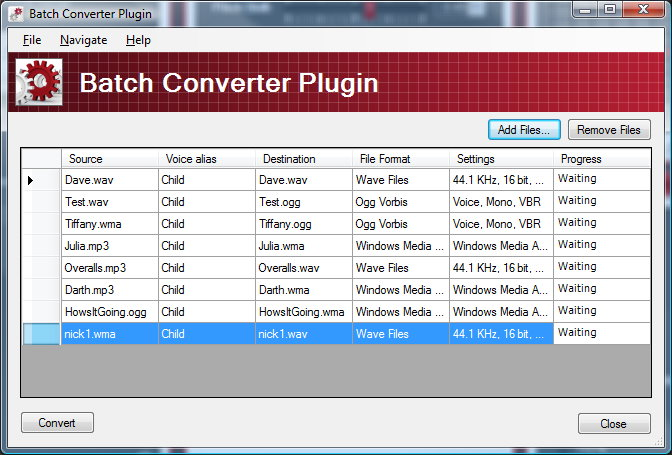 Click to view Batch Converter Plug-In for MorphVOX Pro 4.0.0 screenshot